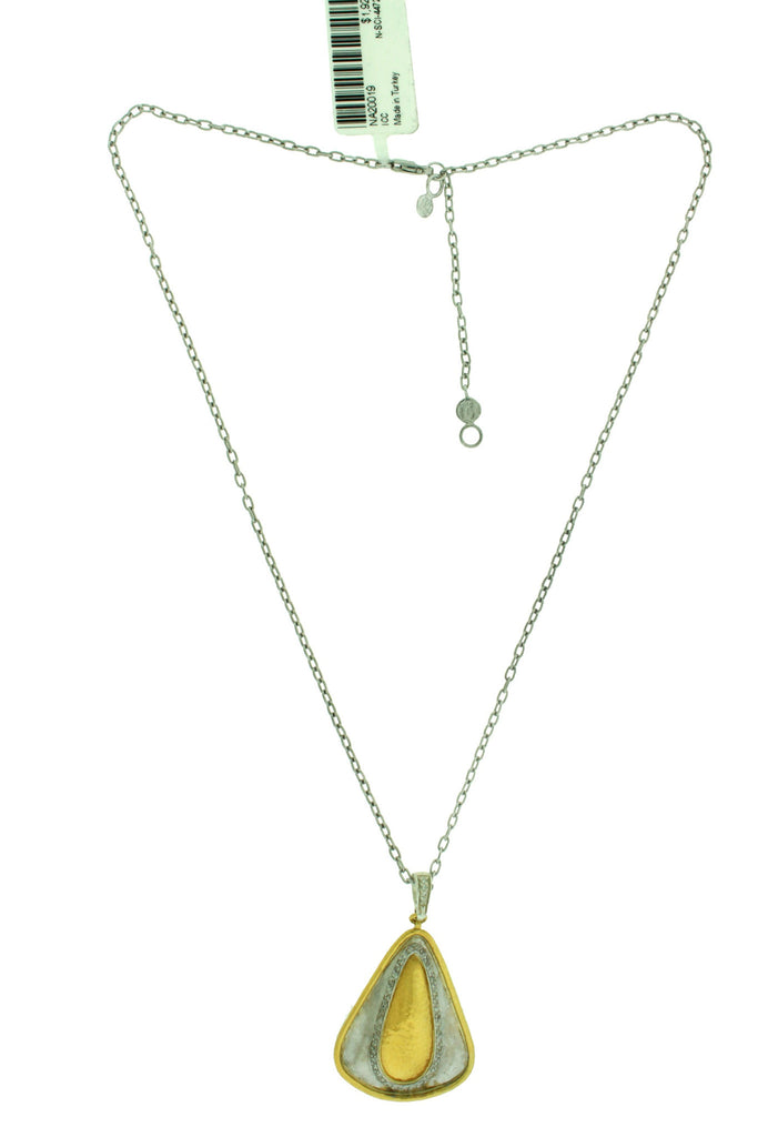 Gurhan Yellow Gold And 925 Silver Diamond Necklace Pendant 16 or 18 inches