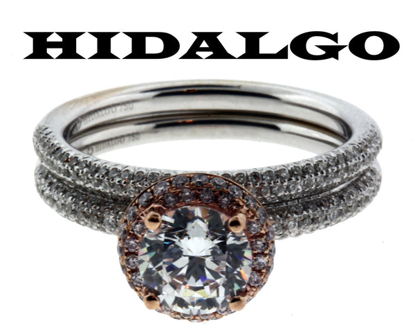 Hidalgo .68ct diamond 18K White & Rose gold Wedding set fits 1ct Round cut SZ6.5