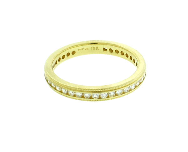 Hearts on Fire 18K gold stackable Milgrain eternity diamond wedding band sz 6.5
