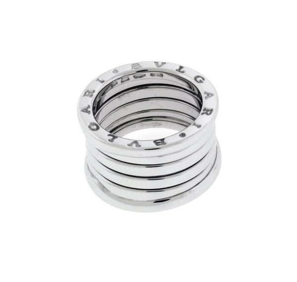 BVLGARI women's B.ZERO1 5 band ring in 18K white gold - size US 5.75 - Italy 51