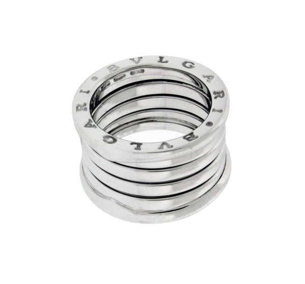 BVLGARI women's B.ZERO1 5 band ring in 18K white gold - size US 7.25 - Italy 55
