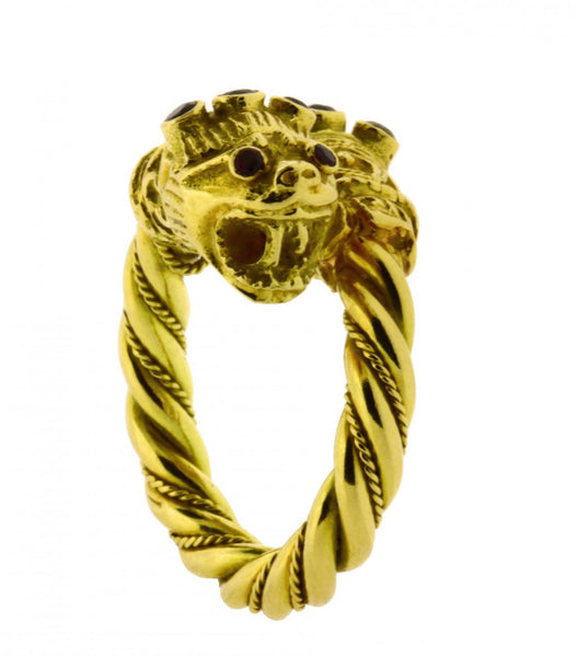Ilia Lalounis double lion head ring in 18k yellow gold new size 5