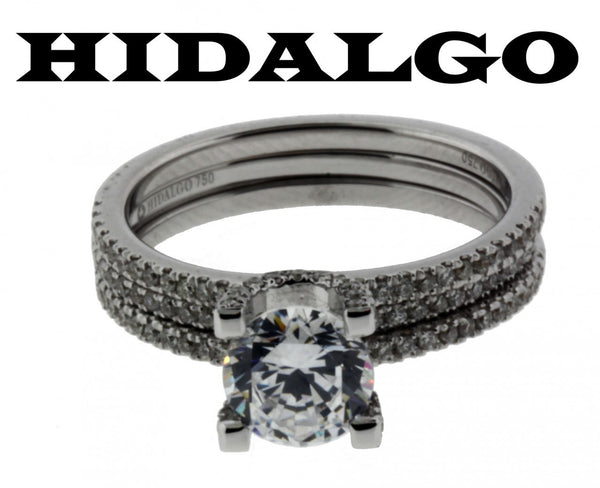 Hidalgo # 1-26 .44ct diamond Wedding set in 18K White gold fits 1ct Round or Squ