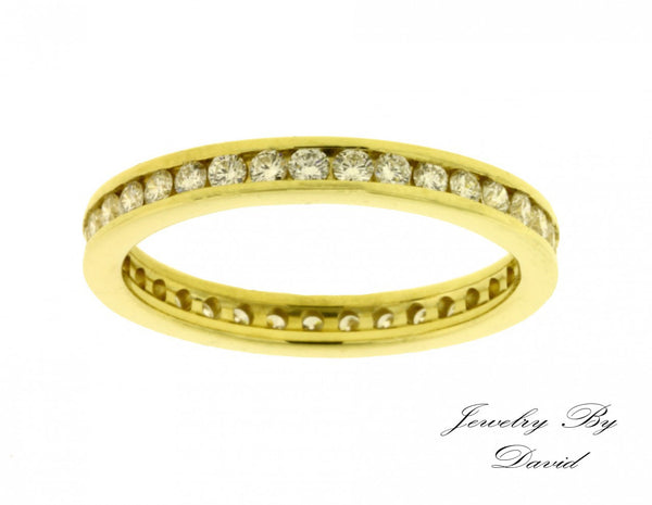Channel set diamond eternity band in 14k yellow gold new VS-H size 7