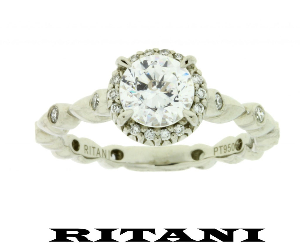 Ritani .20ct diamond engagement ring Platinum will fit 1ct round diamond size 7