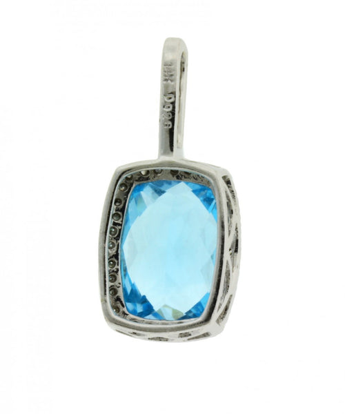 BLUE TOPAZ DIAMOND PENDANT IN 14 KARAT WHITE GOLD NEW IN BOX