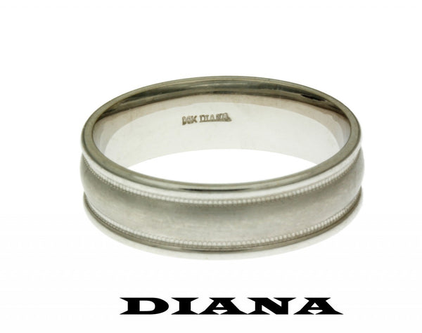 Diana 11-N7012 wedding band 14k White gold size 10