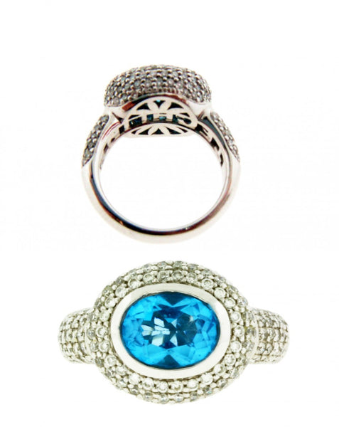 TECHLINE PAVE DIAMOND AND BLUE TOPAZ RING IN 18K WHITE GOLD SIZE 6.75