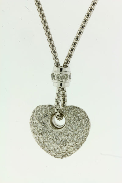 PAVE 1 CARAT DIAMOND HEART NECKLACE IN 18 KARAT WHITE GOLD