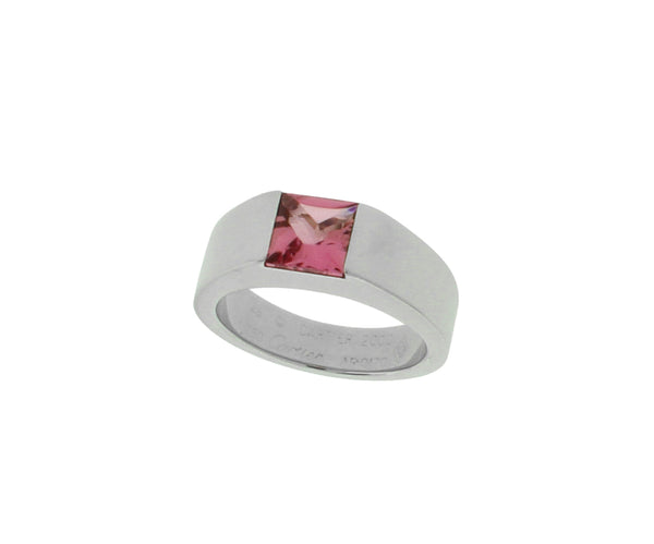 Cartier Tank pink tourmaline Ring in 18K White Gold W COA 4.5