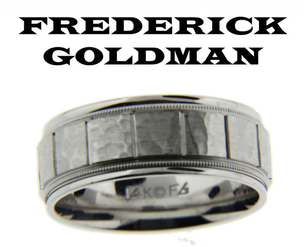 Frederick Goldman 11-7262W85-G men's wedding band in white gold size 10