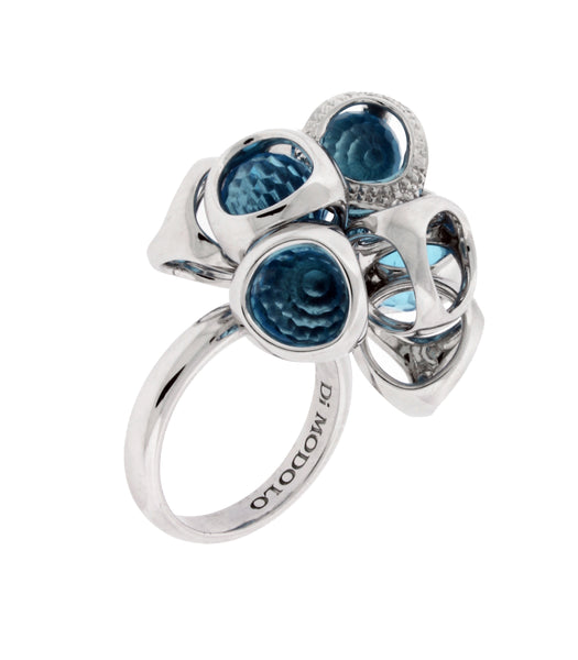 Di Modolo sterling silver diamond & blue topaz ring size 7