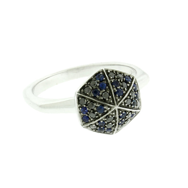 "Stephen Webster ""Deco"" Blue Sapphire & Pave Black Diamond Ring in 18K Size 7"