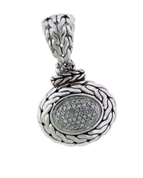 John Hardy pave diamond oval pendant in sterling silver