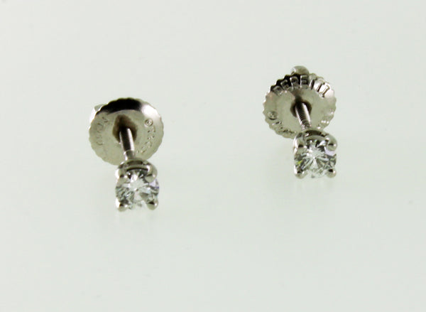 TIFFANY & CO .22 carats solitaire diamond earrings in platinum