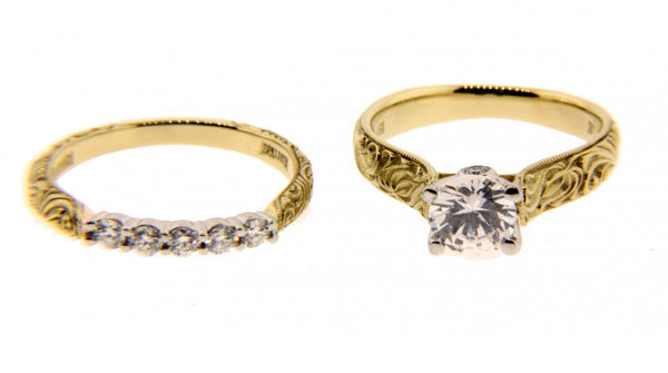 Scott Kay .30CT Diamond Engagement Ring set In 19K yellow gold & platinum