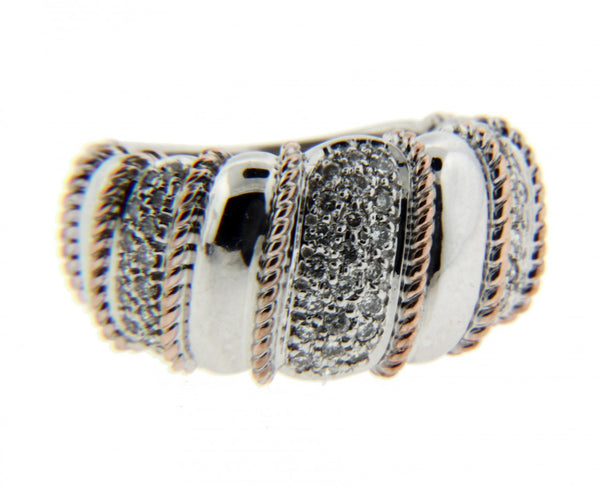 Sonia Bitton diamond ring in 14k white & rose gold size 7.