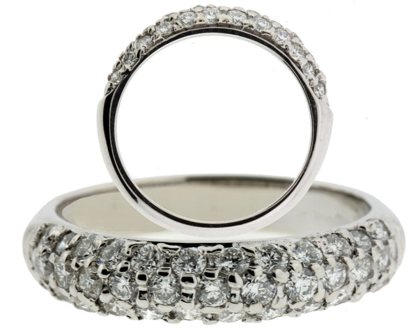 Pave set diamond band in 14k white gold VS2-H new size 7