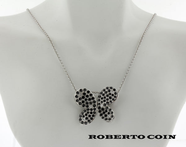 Roberto Coin diamond & black sapphire necklace in 18k white gold new