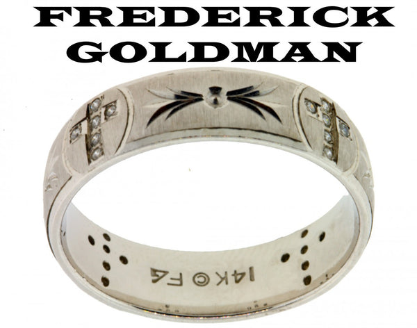 Frederick Goldman men's .12ct diamond cross wedding band in 14k gold size 10