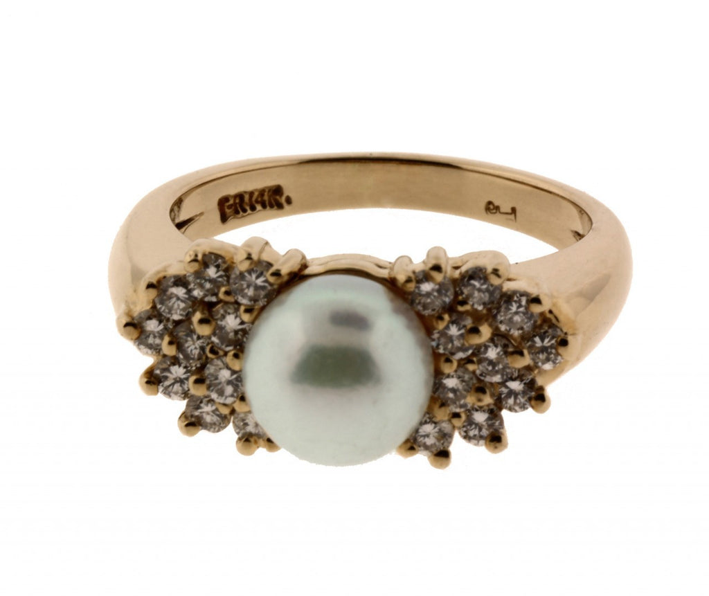 Very beautiful .45CT DIAMOND & PEARL RING IN YELLOW GOLD VS-GH SIZE 6