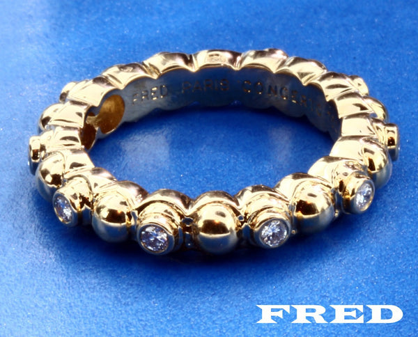 Fred Paris .30ct VS-F diamond eternity band ring 18k yellow gold new size 5.75