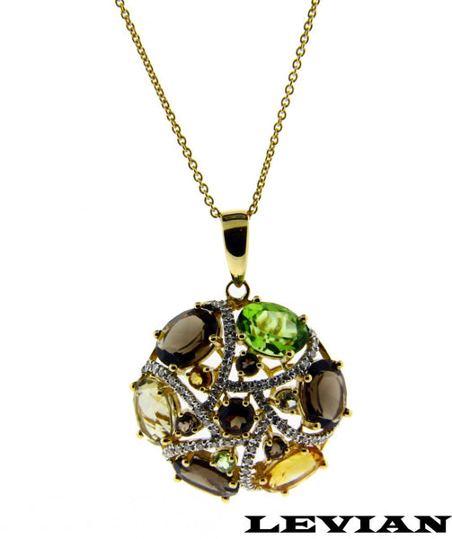 Levian Diamond Smokey Topaz, Citrine, Peridot Necklace In 14k Yellow gold NIB