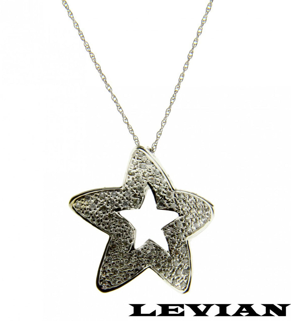 Levian .80 carat diamond star necklace in 14k white gold new.