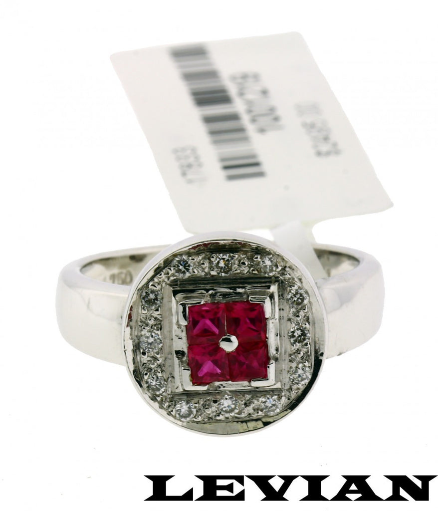 Levian diamond and ruby ring in 18k white gold new in box  size 7