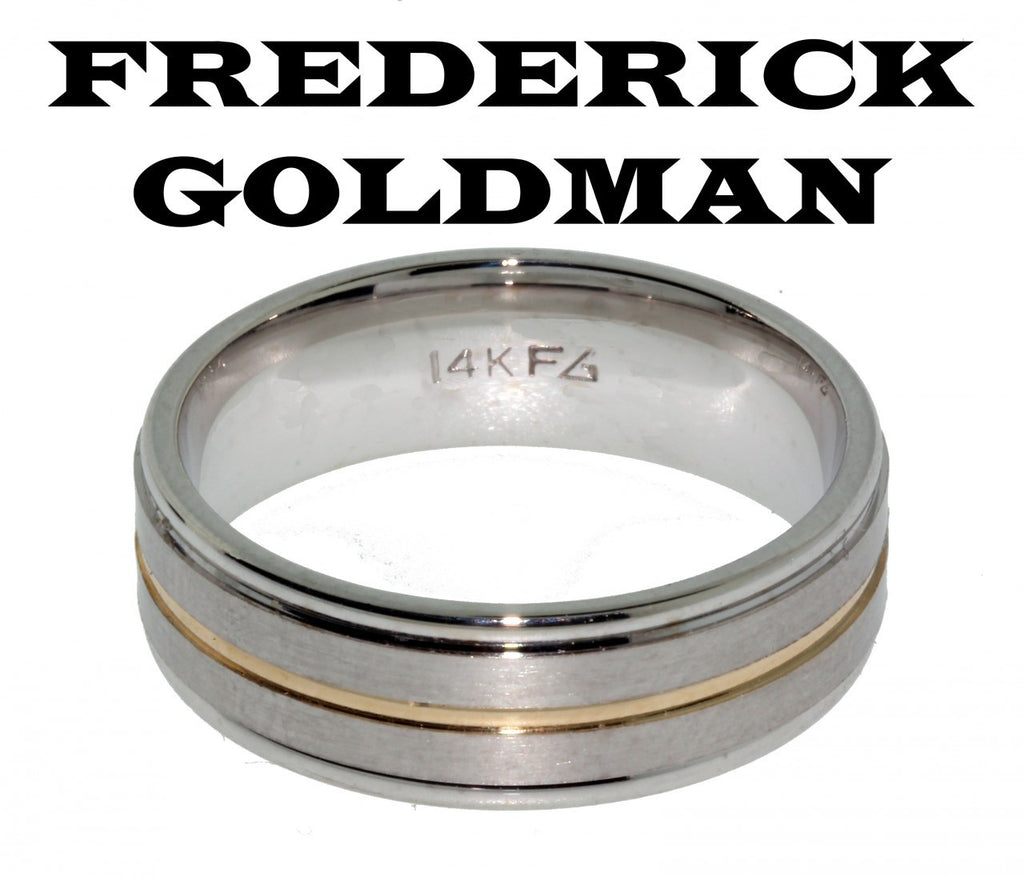 Frederick Goldman 11 7101 G Men S Wedding Band In 14k 2 Tone Gold