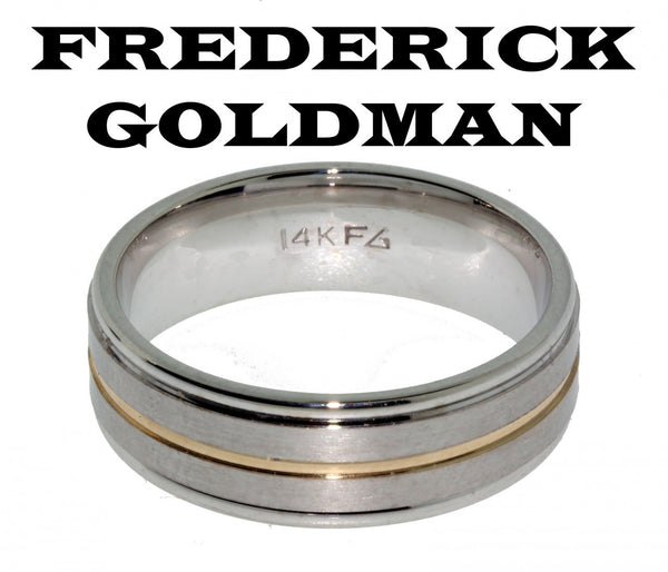 Frederick Goldman 11-7101-G men's wedding band in 14k 2 tone gold size 10