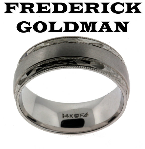 Frederick Goldman 11-7246W-G men's wedding band in 14k white gold size 10