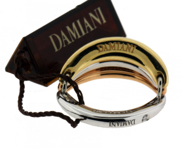 Damiani ladies multi band diamond ring in 18K 3 tone gold new in box size 7.25