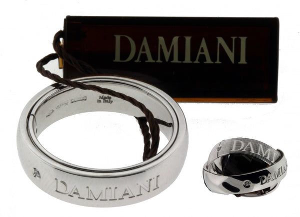 Damiani Men's Orbital diamond ring in 18 karat white gold 8mm wide NIB size 9.75