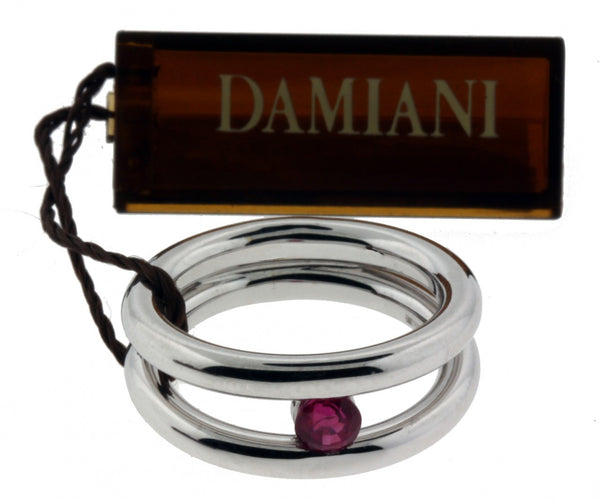Damiani ladies split shank ruby ring in 18K White gold new in box size 6.75