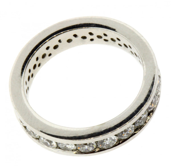 Channel set diamond eternity band in 14k white gold new VS-GH size 5.5