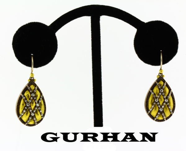 Gurhan diamond earrings in 24k gold brand new.