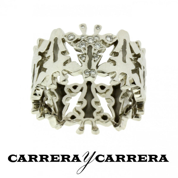 Carrera y Carrera diamond Giraffe ring in 18k white gold Size 6.25