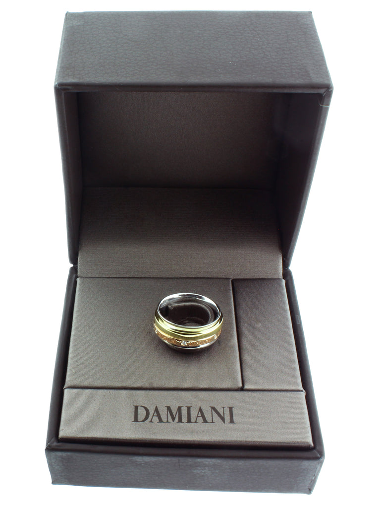 Damiani 18K 3 tone Gold Twister Band Diamond Ring size 7