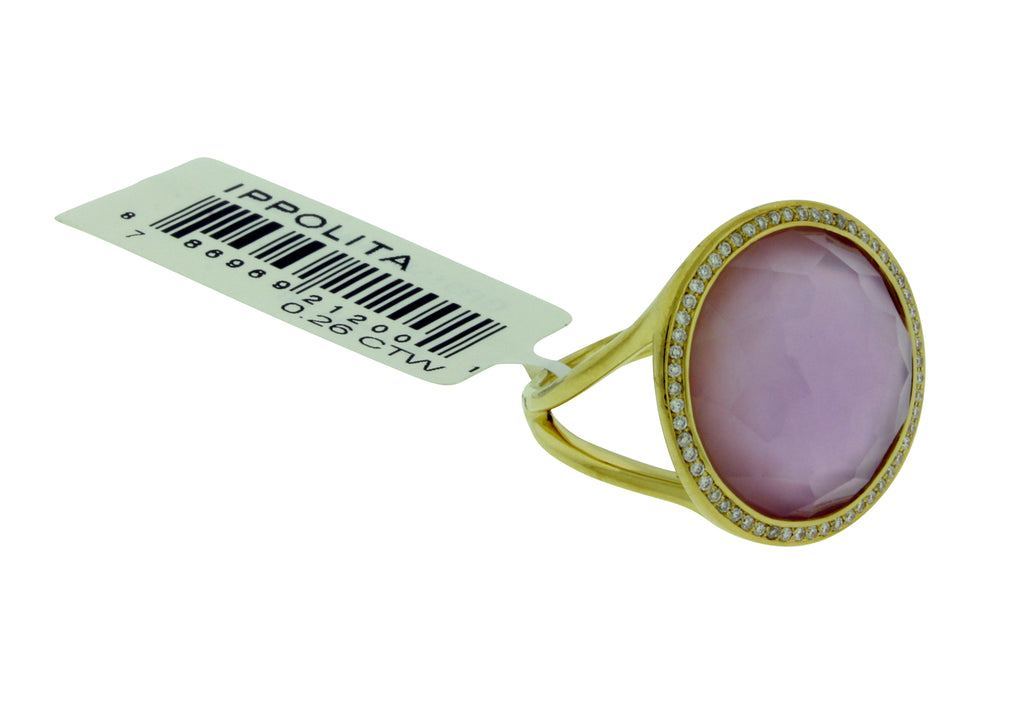 Ippolita 18k Rock & Candy Lollipop ring Diamond, Amethyst & Mother of pearl doublet