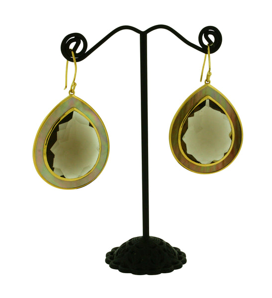 Ippolita 18k Ondine large Teardrop earrings smoky quartz & brown shell slice