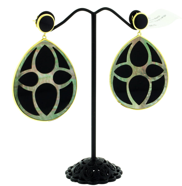 Ippolita 18k Rock Candy Carved layers large Teardrop earrings black shell & Onyx