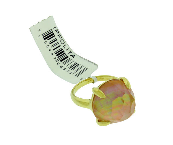 Ippolita 18k yellow gold Rock & Candy Lollipop ring in brown shell doublet