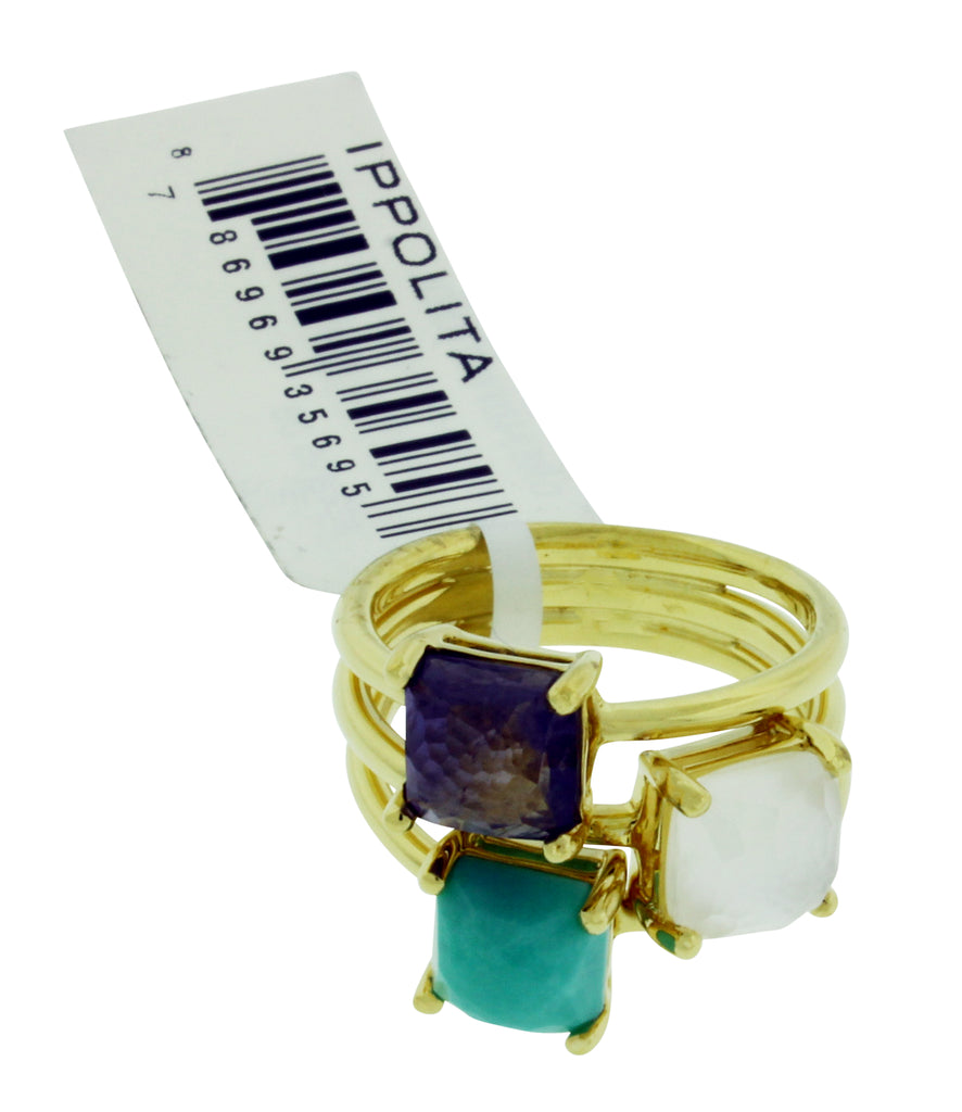Ippolita 18k yellow gold Rock & Candy Mother of pearl, turquoise & Iolite ring
