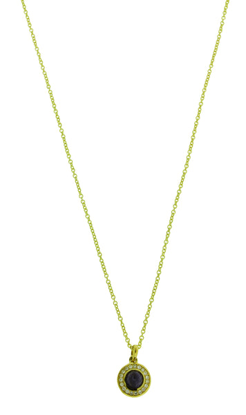 Ippolita 18k yellow gold diamonds & Iolite mini Lollipop pendant necklace