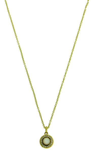Ippolita 18k gold diamonds & Mother of Pearl mini Lollipop pendant necklace