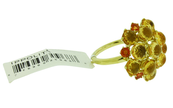Ippolita 18k yellow gold orange citrine & orange sapphire Lollipop ring size 7