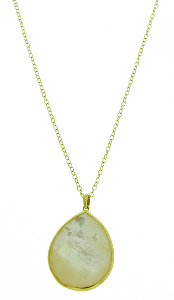 Ippolita 18K GOLD ROCK CANDY large Teardrop Mother of pearl pendant necklace