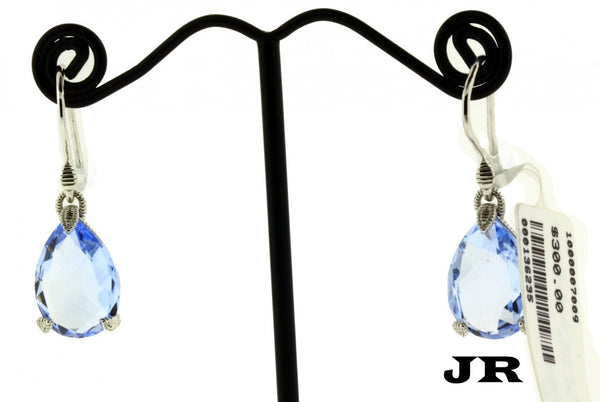 Judith Ripka pear shape blue quartz earrings in sterling silver