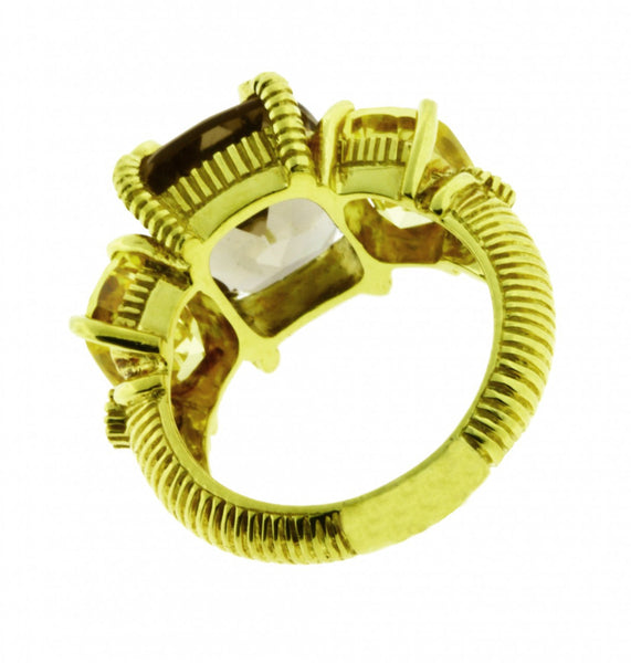 Judith Ripka canary & smokey crystal diamond ring in 18K yellow gold size 6.
